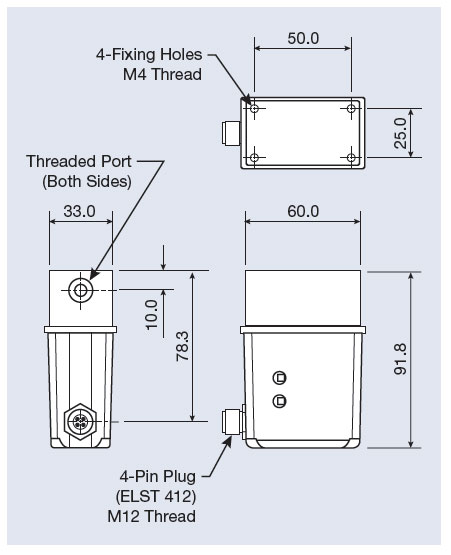 dimensions of the atrato process ultrasonic flow sensor