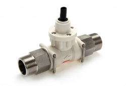 FT2 turbine flow meter with 3/4 fittings, manufactured in stainless steel
