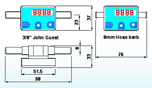 Dimensions of 800 series displaying flow meter, programmable for rate and total